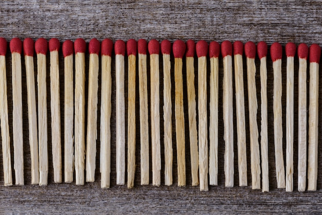 Pile of matchsticks arrange in a row