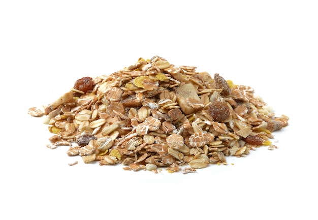 Pile of muesli isolated on white space
