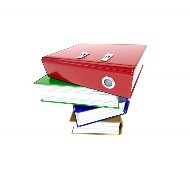 Pile multicolor folders binders isolated on white background. 3d illustration.