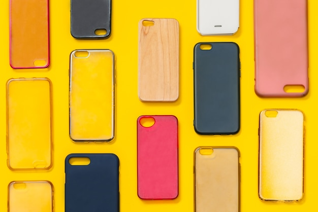 Pile of multicolored plastic back covers for mobile phone
