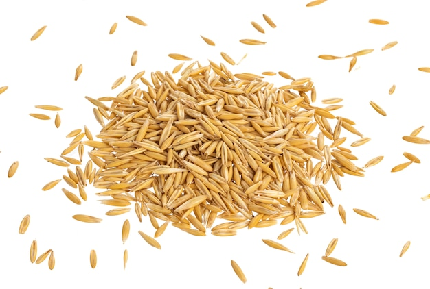 Pile of oat seeds isolated on white, top view