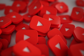 Pile of 3D Play Button Logos