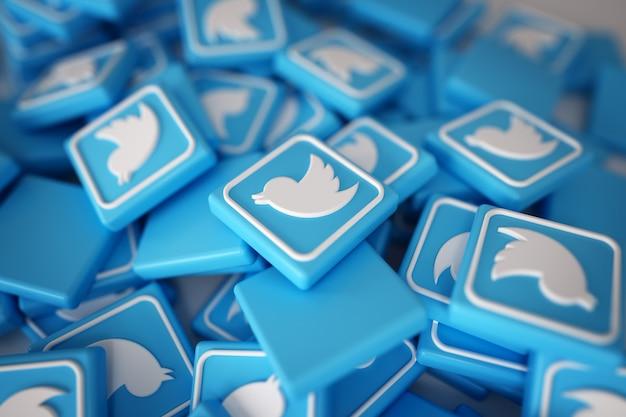 3d twitterロゴの山