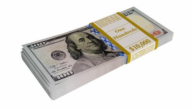 Куча американских долларов, изолированные на белом фоне