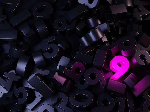 Куча черных чисел со светящимся