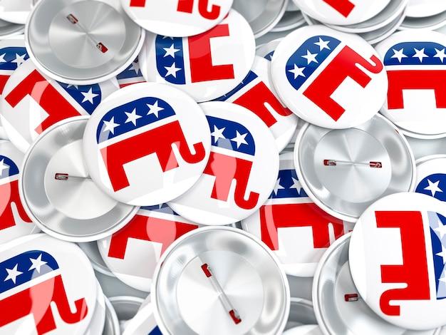 Куча кнопки сдвигается с места со слоном. знак республиканской партии.
