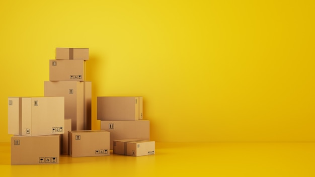 Куча картонных коробок на полу на желтом фоне