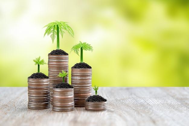 コインの山は、お金を節約するアイデアのために成長している木の苗木とグラフの形で積み重ねられます