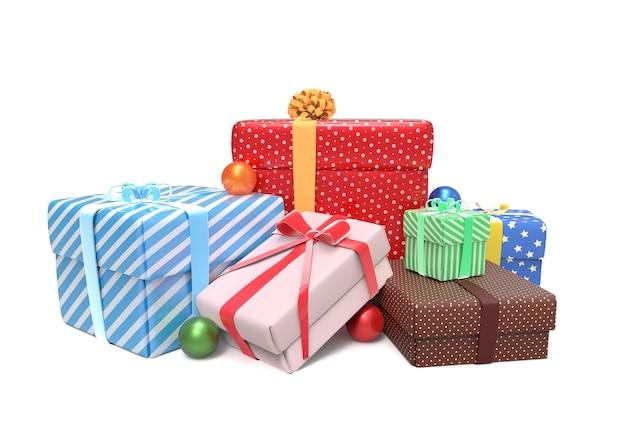 Куча красочных подарков в упаковке