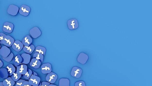 Facebookのアイコンの山3dレンダリングクリーンでシンプルな白いイラスト