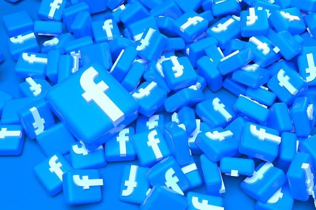 Куча 3d-рендеринга логотипа facebook