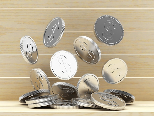 Куча падающих серебряных монет на деревянных