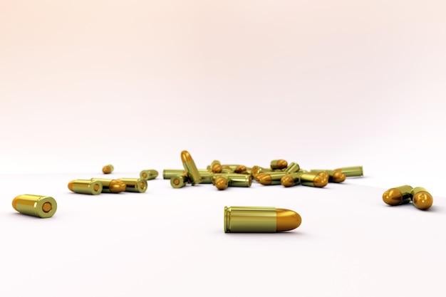 황금 총알 더미가 격리된 흰색 배경에 무작위로 놓여 있습니다. 무기 등급의 군용 총알이 흰색 배경에 바닥에 누워 있습니다. 거짓말 카트리지의 3d 일러스트