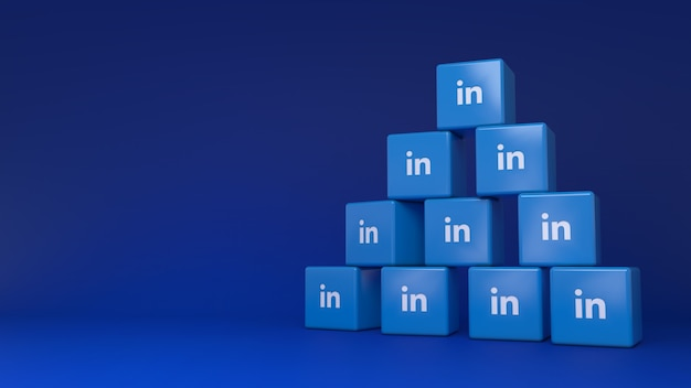 Куча логотипов linkedin cube на синем фоне