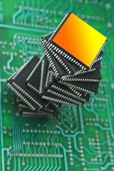 인쇄 회로 기판에 마이크로 칩 더미