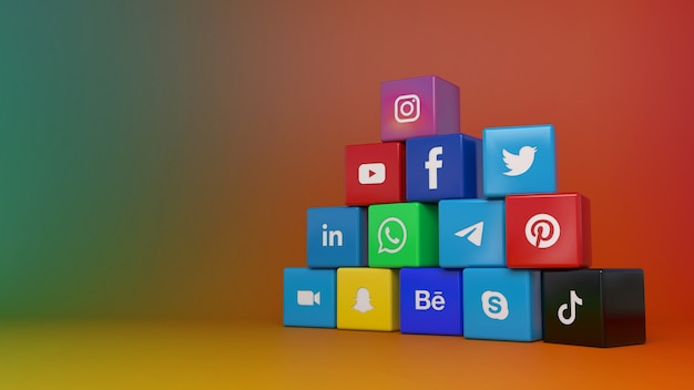 カラフルなグラデーションの背景の上に最も人気のあるソーシャルネットワークキューブのロゴの山