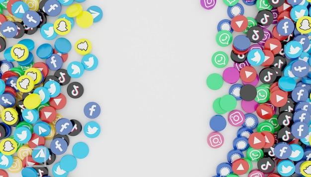 인기있는 소셜 미디어 아이콘의 더미는 깨끗하고 간단한 흰색 그림 3d 렌더링