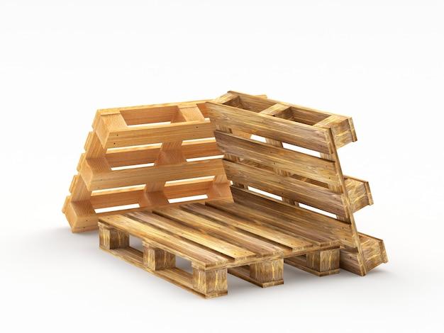 Куча грузовых деревянных поддонов