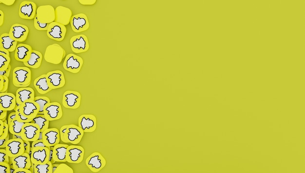 Snapchat 아이콘 3d 렌더링 깨끗하고 간단한 흰색 그림의 더미