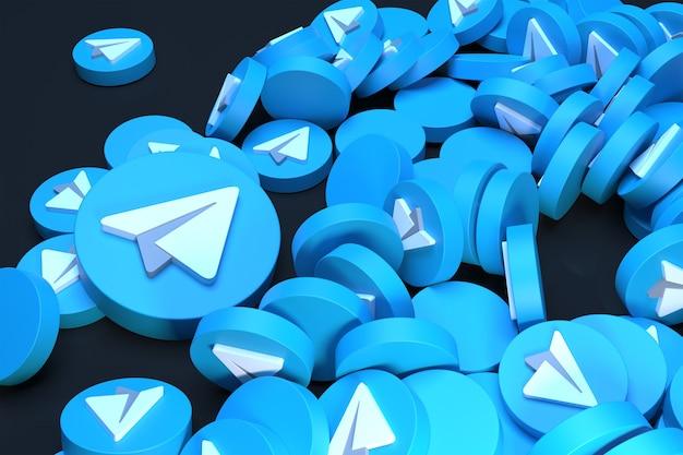 Куча логотипа telegram 3d визуализации