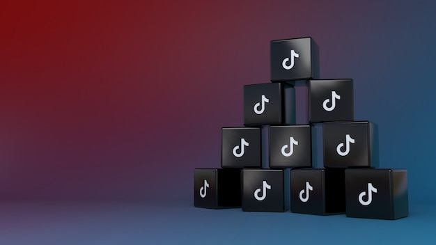 Куча логотипов tik tok cube на красочном градиентном фоне