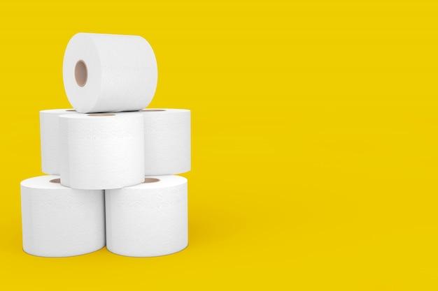 노란색 배경에 화장지 롤 더미. 3d 렌더링