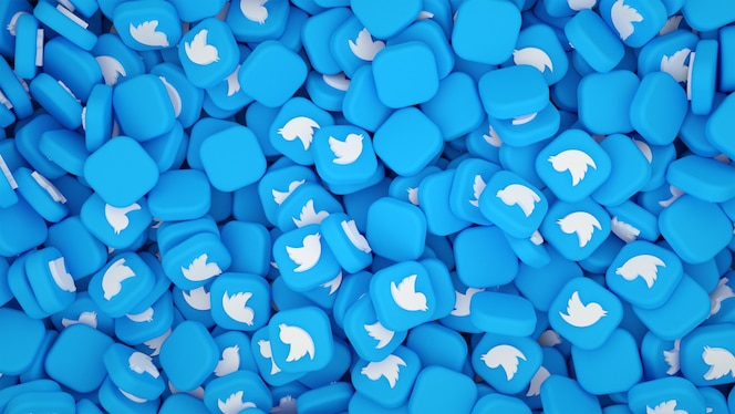Twitterのロゴの山