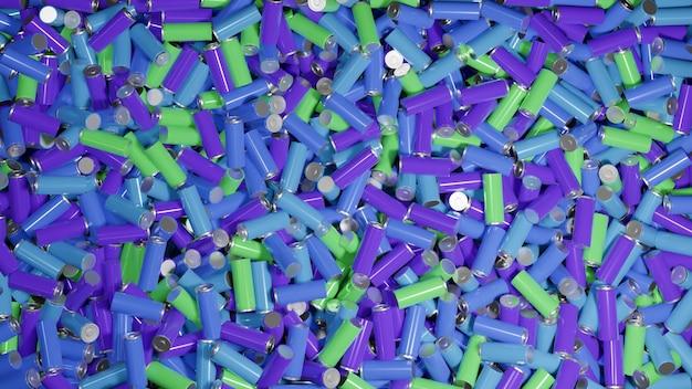 Куча использованных литий-ионных аккумуляторов в красочной пластиковой пленке, много отходов перезаряжаемых литий-ионных аккумуляторов, ожидающих переработки, 3d-рендеринг, иллюстрация, пригодный для повторного использования источник питания