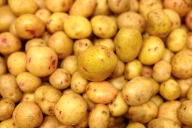 野菜の山は背景として黄色いジャガイモを洗った