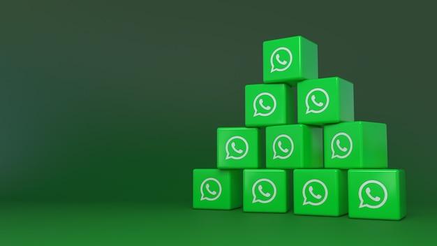 Куча логотипов whatsapp cube на зеленом фоне
