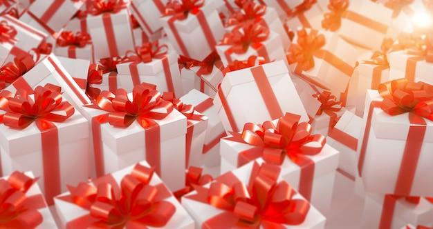 Куча белых подарочных коробок с красными лентами