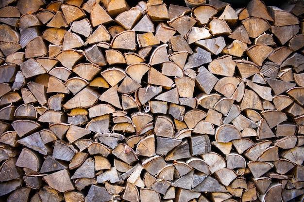 Куча деревянных бревен, готовых к зиме - ландшафтный экстерьер. пни текстуры. деревянный фон - натуральная коричневая текстура