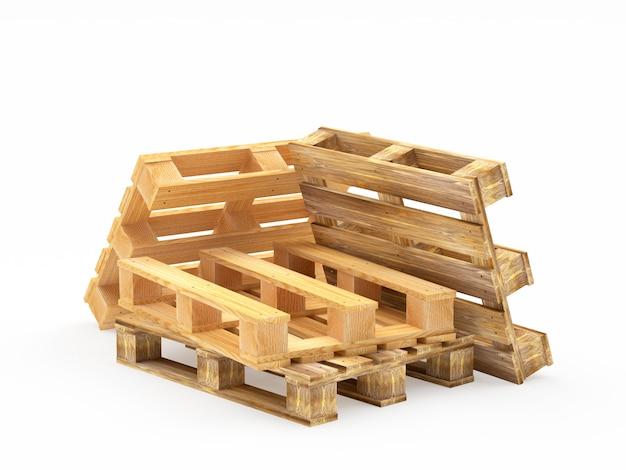Куча деревянных грузовых поддонов