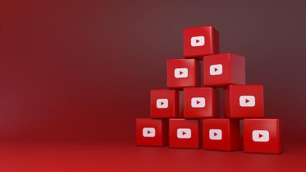 빨간색 배경 위에 유튜브 큐브 로고의 더미