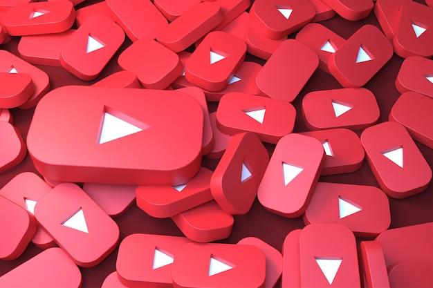 Куча логотипов youtube 3d рендеринга