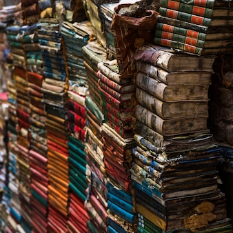 Pile of old books with vintage style