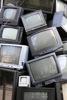 Pile of old television