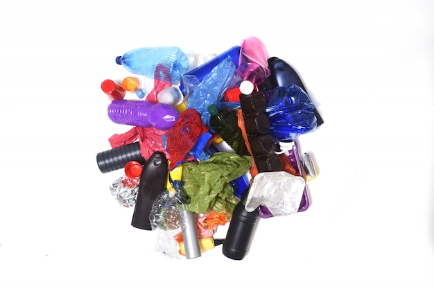 Pile of plastics on white background