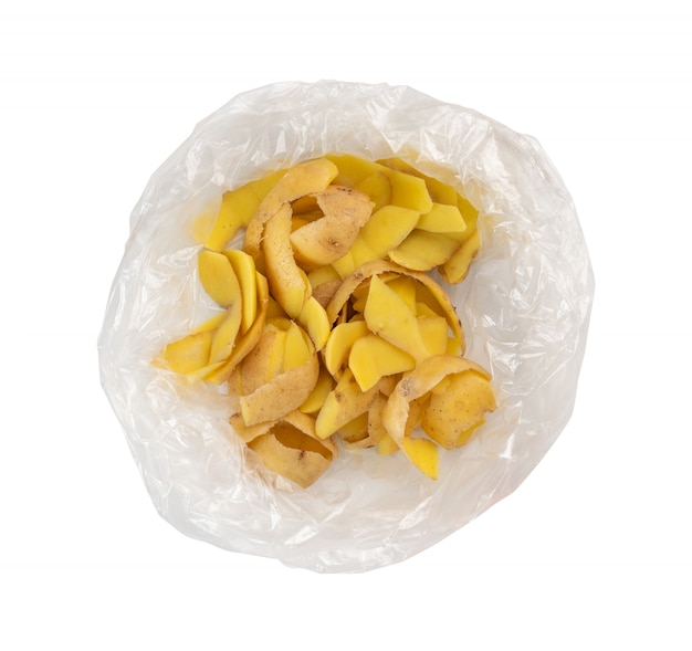 Pile of potato peel isolated