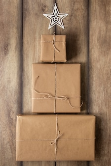 Pile of presents on wooden background