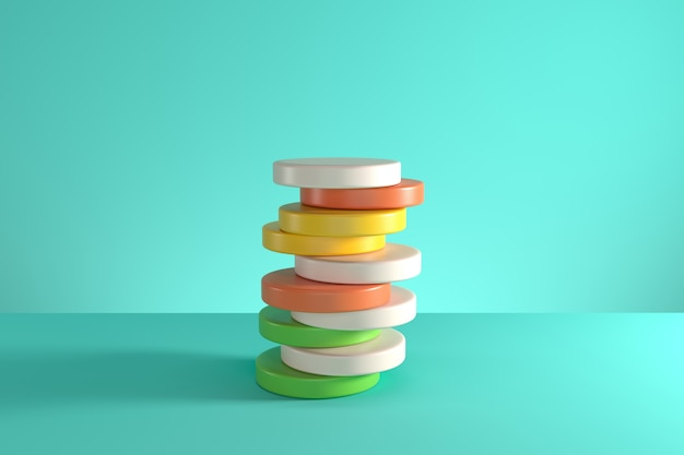 Pile of random shifted colorful cylinders isolated on blue background. minimal concept idea. 3d render.