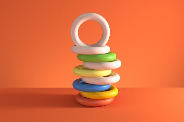 Pile of random shifted colorful tori isolated on orange background. minimal concept idea. 3d render.