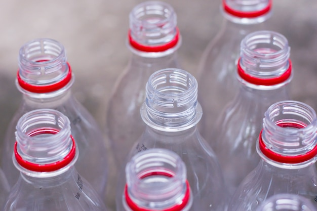 Pile recyclable plastic bottles