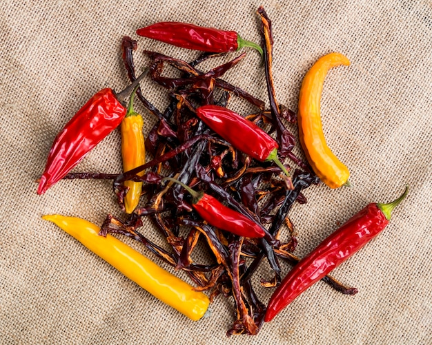 Pile of red dry peppers with chilli