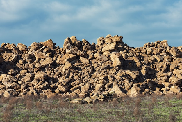 A pile of rock fragments