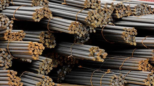 Pile of rusty steel bar