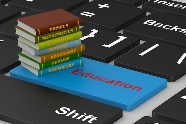 Pile school books on keyboard. 3d illustration