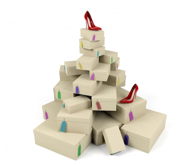 Pile of shoe boxes with red high-heeled shoe, 3d rendering