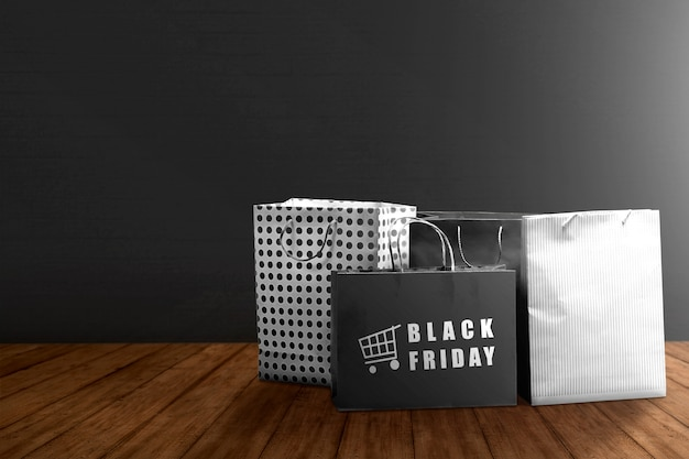 Pile of a shopping bag with black friday text