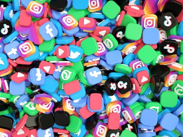 Pile of social media logos